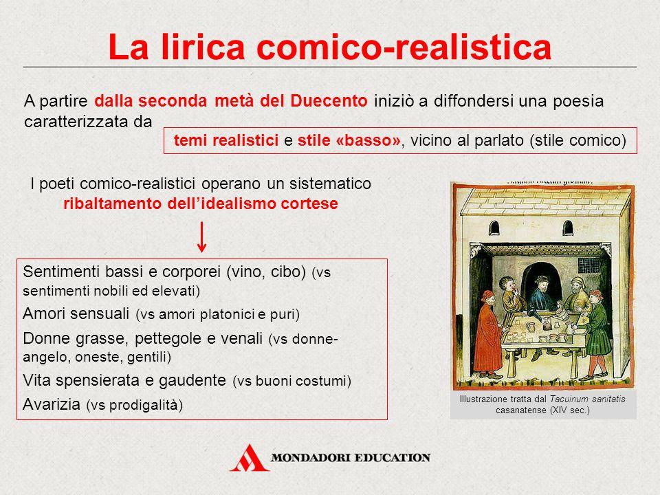 La lirica comico-realistica A partire dalla seconda metà del Duecento iniziò a diffondersi una poesia caratterizzata da temi realistici e stile «basso