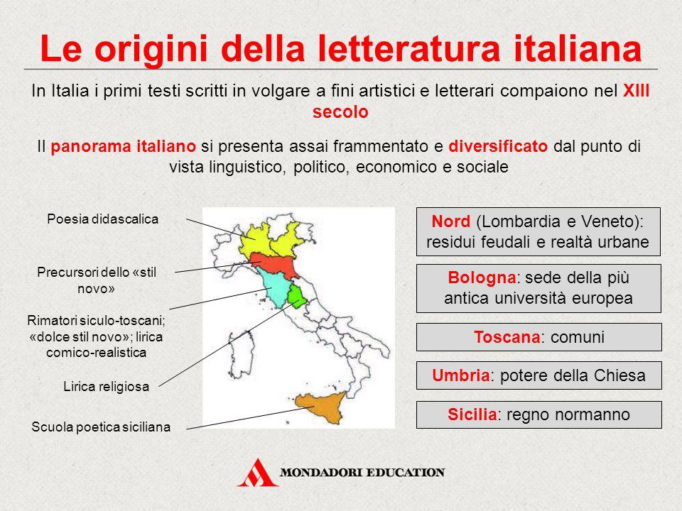 Le origini della letteratura italiana In Italia i primi testi scritti in volgare a fini artistici e letterari compaiono nel XIII secolo Il panorama it