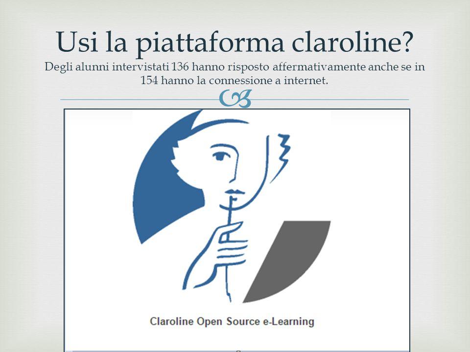  Usi la piattaforma claroline? Degli alunni intervistati 136 hanno risposto affermativamente anche se in 154 hanno la connessione a internet.