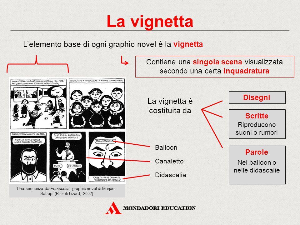 La vignetta L'elemento base di ogni graphic novel è la vignetta Contiene una singola scena visualizzata secondo una certa inquadratura La vignetta è c