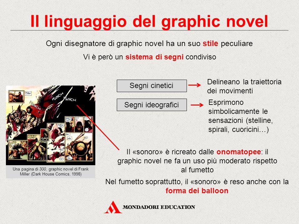Il linguaggio del graphic novel Ogni disegnatore di graphic novel ha un suo stile peculiare Vi è però un sistema di segni condiviso Il «sonoro» è ricr