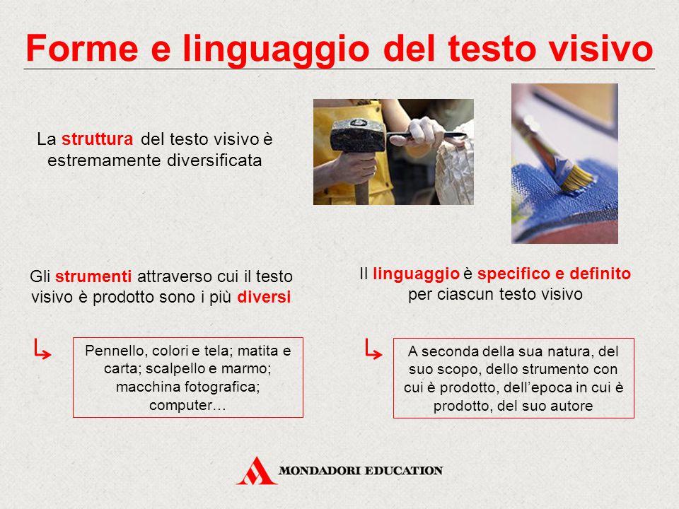 Forme e linguaggio del testo visivo La struttura del testo visivo è estremamente diversificata Gli strumenti attraverso cui il testo visivo è prodotto