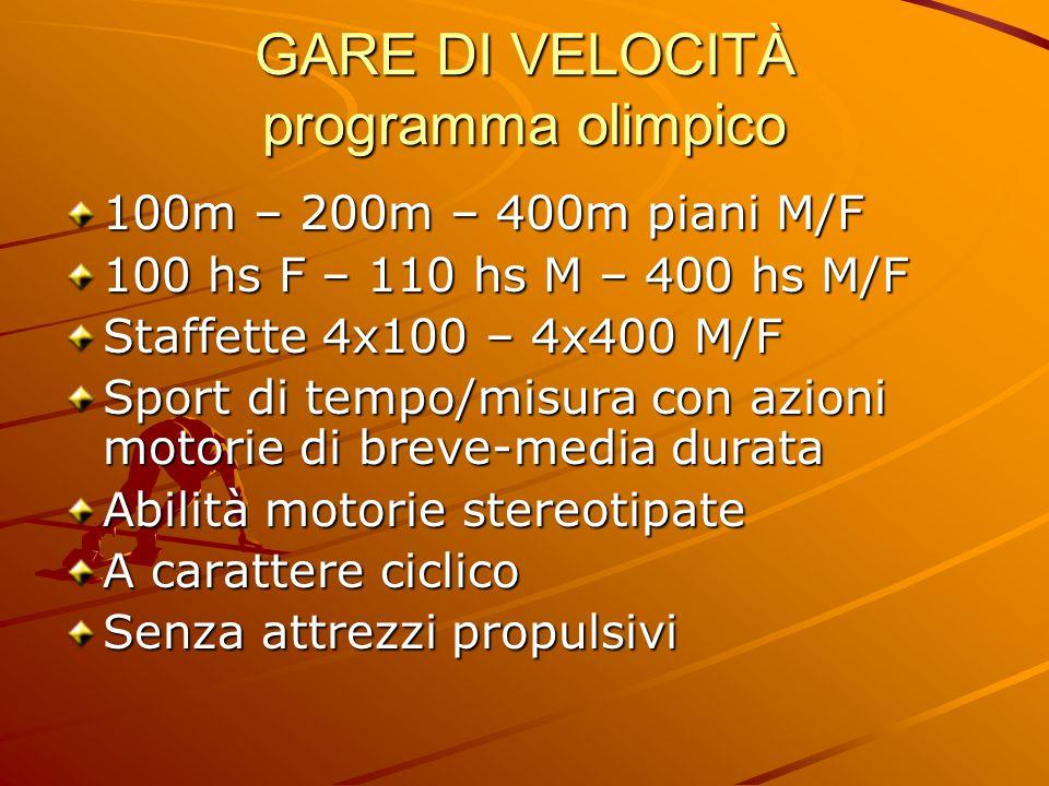 GARE DI VELOCITÀ programma olimpico 100m – 200m – 400m piani M/F 100 hs F – 110 hs M – 400 hs M/F Staffette 4x100 – 4x400 M/F Sport di tempo/misura co