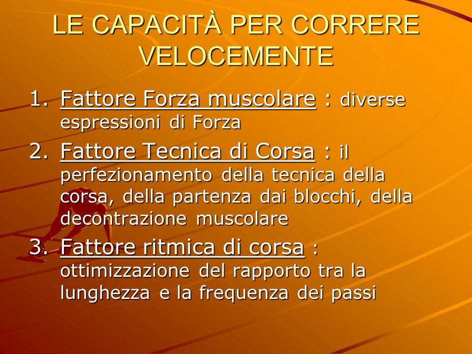 LE CAPACITÀ PER CORRERE VELOCEMENTE 1.Fattore Forza muscolare : diverse espressioni di Forza 2.Fattore Tecnica di Corsa : il perfezionamento della tec