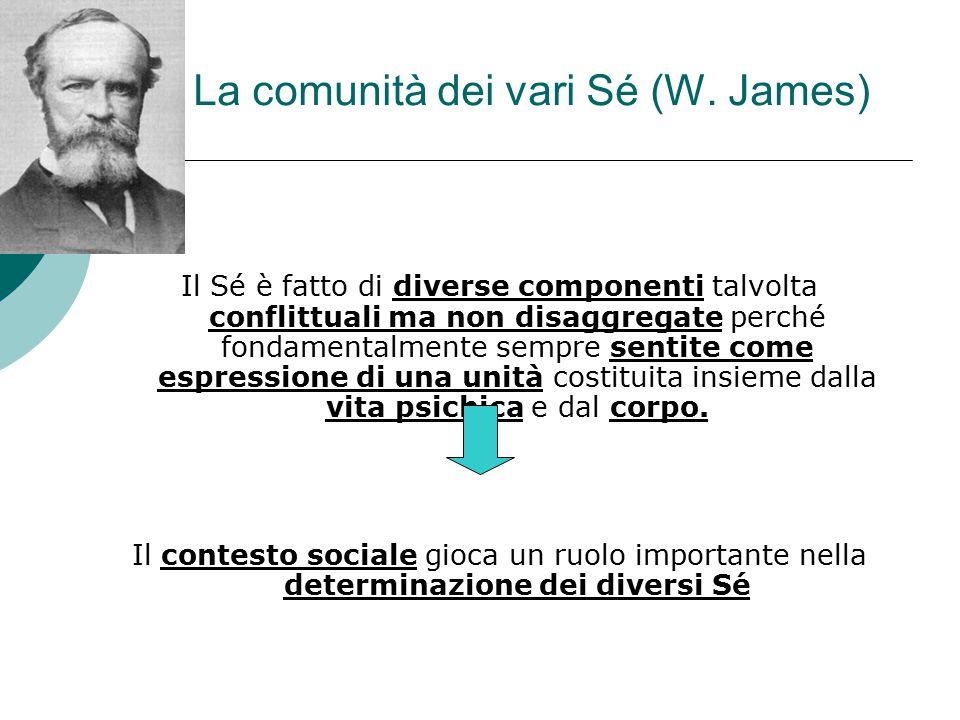 La comunità dei vari Sé (W. James) Il Sé è fatto di diverse componenti talvolta conflittuali ma non disaggregate perché fondamentalmente sempre sentit
