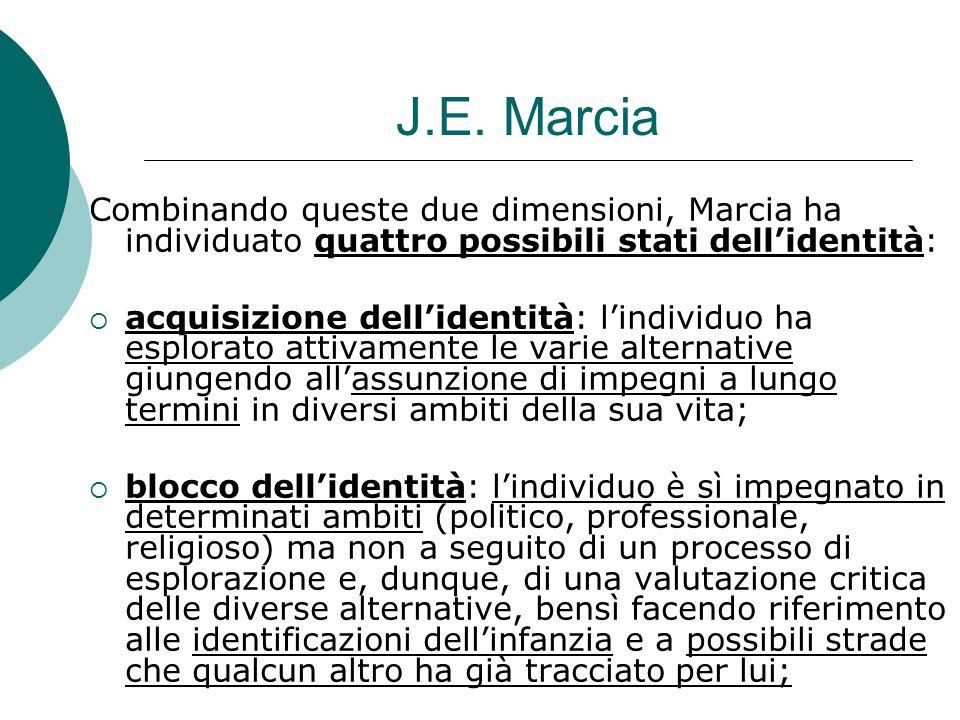 J.E. Marcia Combinando queste due dimensioni, Marcia ha individuato quattro possibili stati dell'identità:  acquisizione dell'identità: l'individuo h