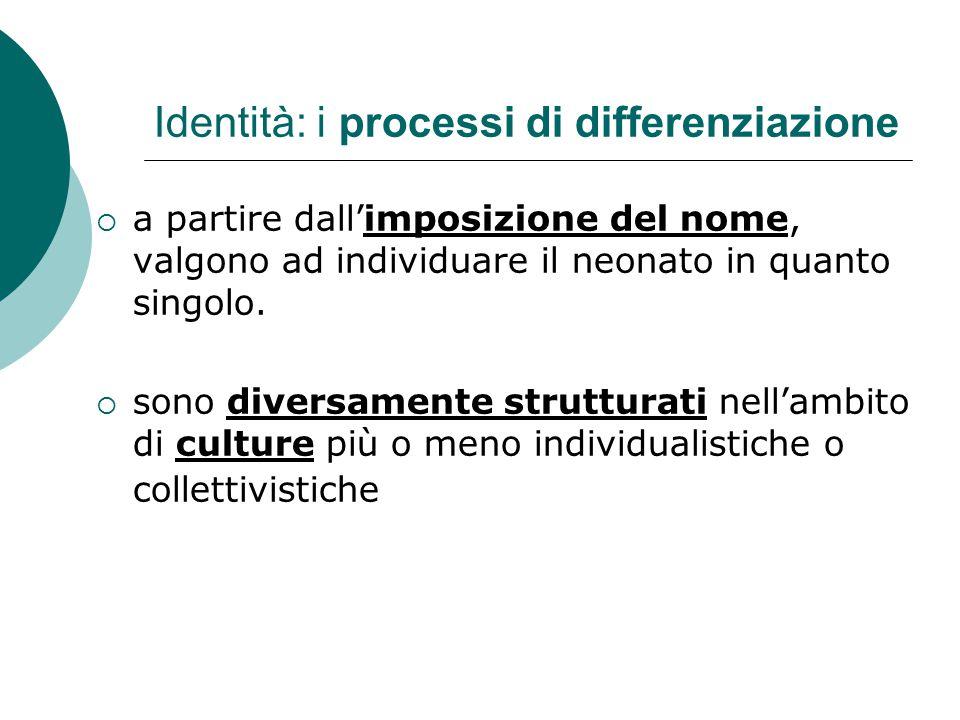Identità: i processi di differenziazione  a partire dall'imposizione del nome, valgono ad individuare il neonato in quanto singolo.  sono diversamen