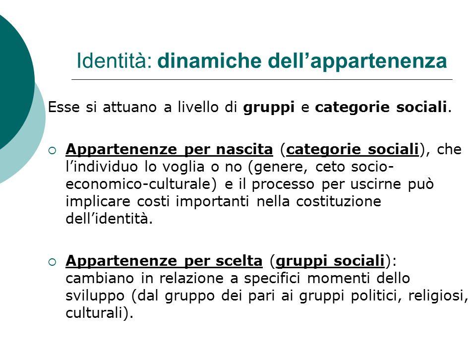 Identità: dinamiche dell'appartenenza Esse si attuano a livello di gruppi e categorie sociali.  Appartenenze per nascita (categorie sociali), che l'i