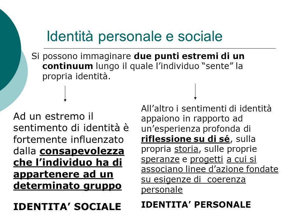 Identità personale e sociale Si possono immaginare due punti estremi di un continuum lungo il quale l'individuo sente la propria identità.