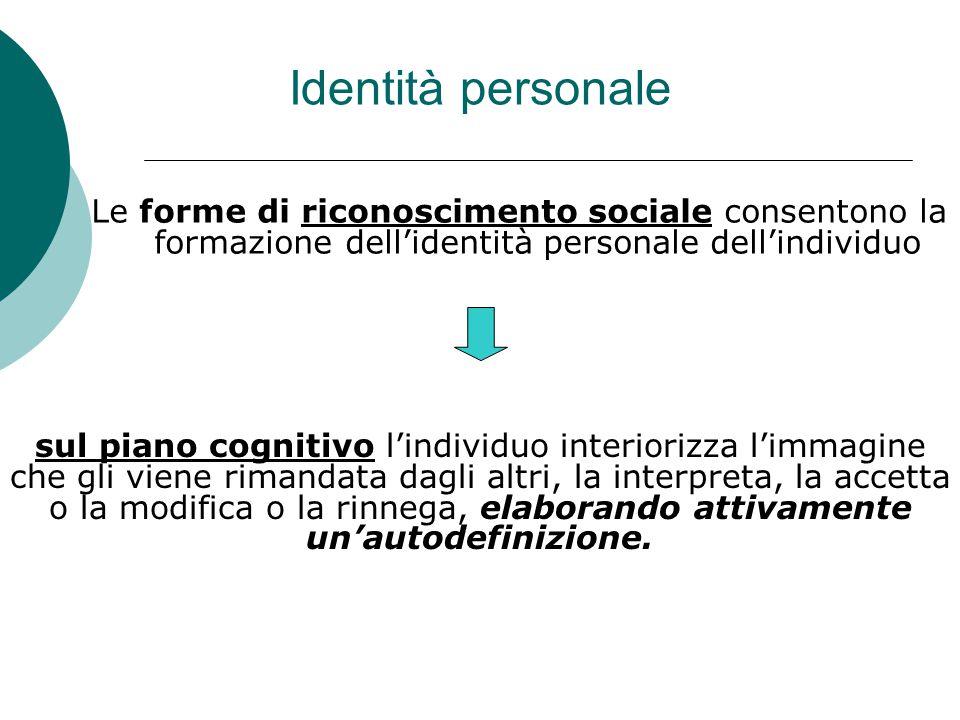 Identità personale Le forme di riconoscimento sociale consentono la formazione dell'identità personale dell'individuo sul piano cognitivo l'individuo interiorizza l'immagine che gli viene rimandata dagli altri, la interpreta, la accetta o la modifica o la rinnega, elaborando attivamente un'autodefinizione.