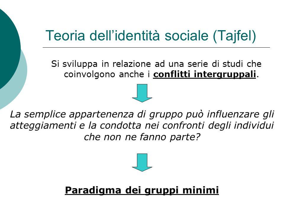Teoria dell'identità sociale (Tajfel) Si sviluppa in relazione ad una serie di studi che coinvolgono anche i conflitti intergruppali. La semplice appa