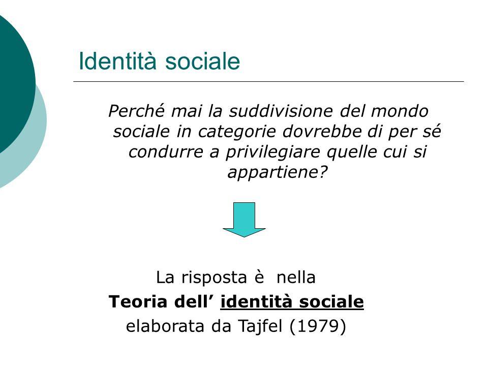 Identità sociale Perché mai la suddivisione del mondo sociale in categorie dovrebbe di per sé condurre a privilegiare quelle cui si appartiene? La ris