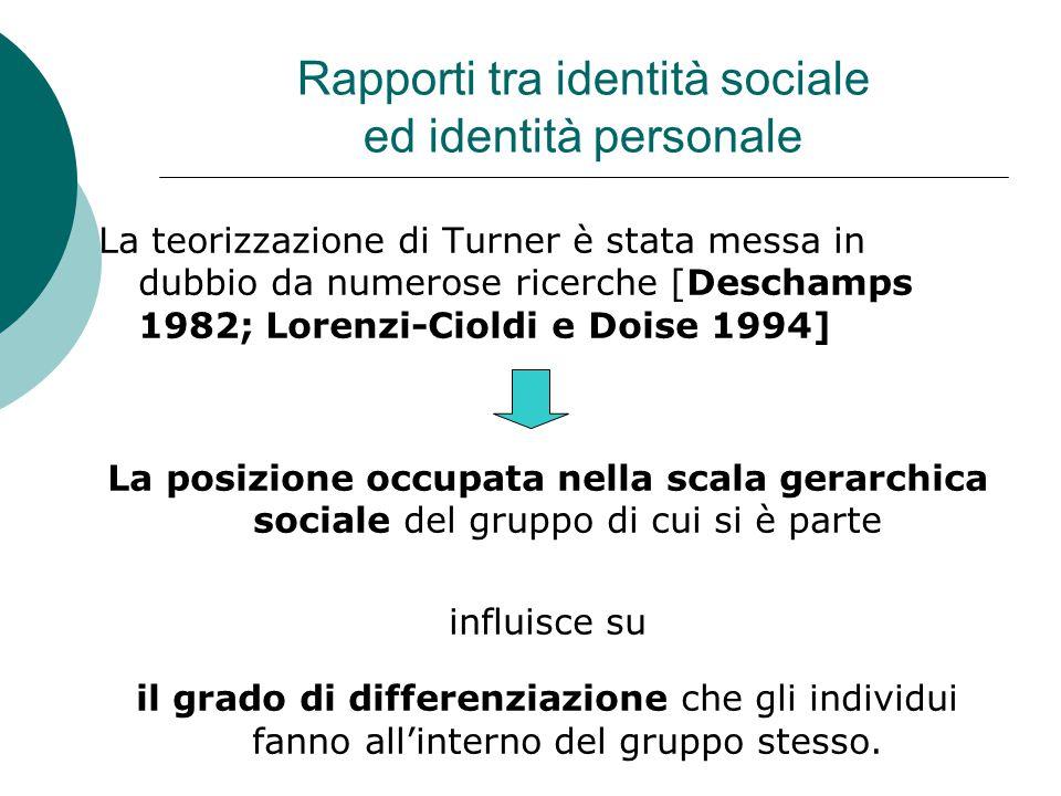 Rapporti tra identità sociale ed identità personale La teorizzazione di Turner è stata messa in dubbio da numerose ricerche [Deschamps 1982; Lorenzi-Cioldi e Doise 1994] La posizione occupata nella scala gerarchica sociale del gruppo di cui si è parte influisce su il grado di differenziazione che gli individui fanno all'interno del gruppo stesso.