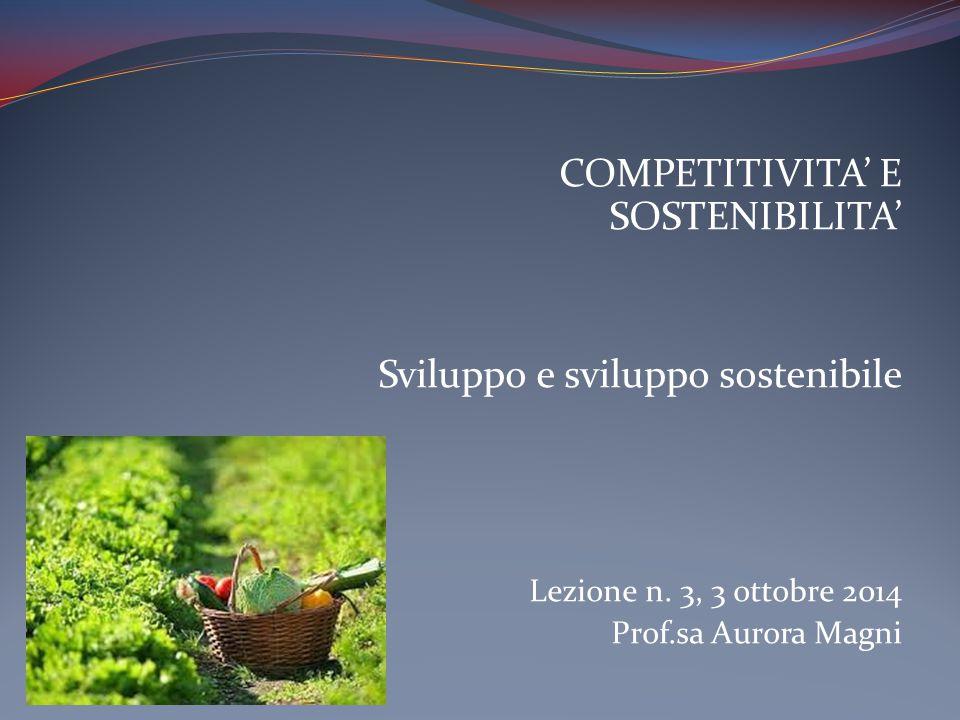 COMPETITIVITA' E SOSTENIBILITA' Sviluppo e sviluppo sostenibile Lezione n.