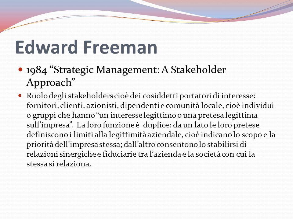 Edward Freeman 1984 Strategic Management: A Stakeholder Approach Ruolo degli stakeholders cioè dei cosiddetti portatori di interesse: fornitori, clienti, azionisti, dipendenti e comunità locale, cioè individui o gruppi che hanno un interesse legittimo o una pretesa legittima sull'impresa .