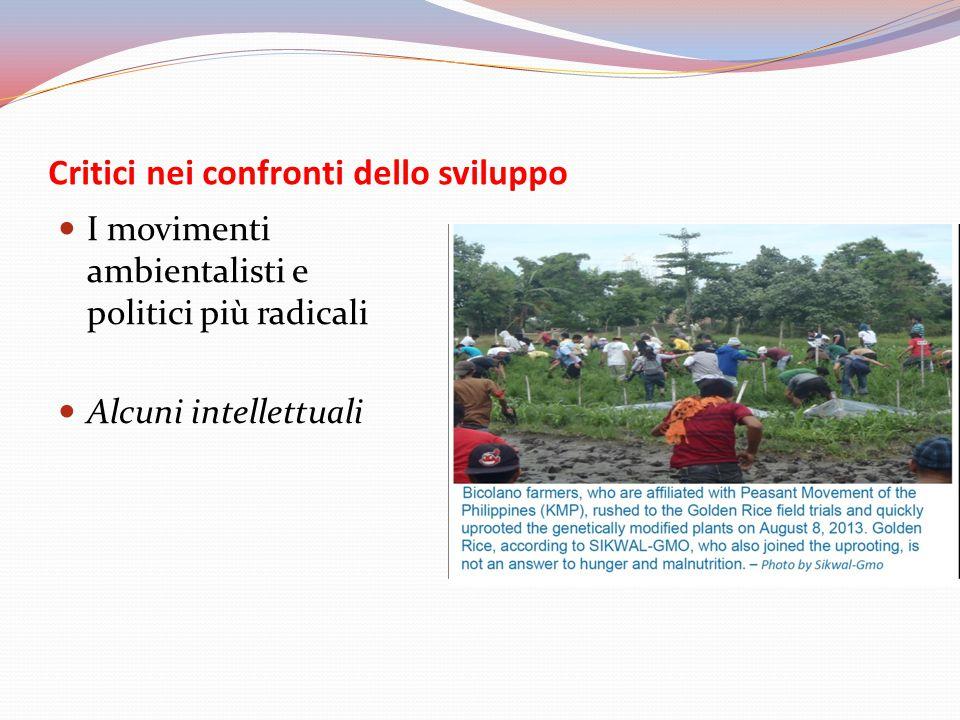 Critici nei confronti dello sviluppo I movimenti ambientalisti e politici più radicali Alcuni intellettuali