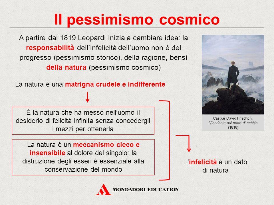 Il pessimismo cosmico A partire dal 1819 Leopardi inizia a cambiare idea: la responsabilità dell'infelicità dell'uomo non è del progresso (pessimismo