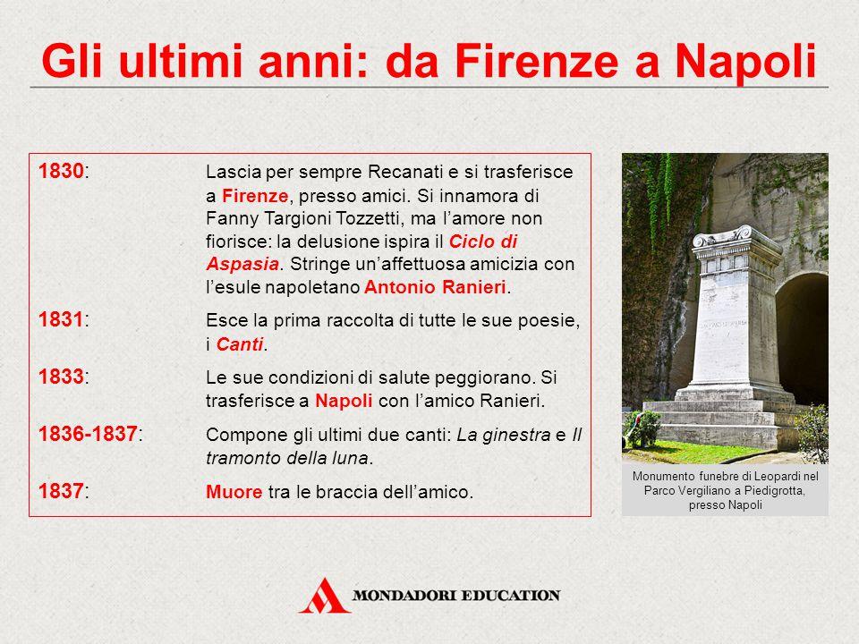 Gli ultimi anni: da Firenze a Napoli 1830: Lascia per sempre Recanati e si trasferisce a Firenze, presso amici. Si innamora di Fanny Targioni Tozzetti