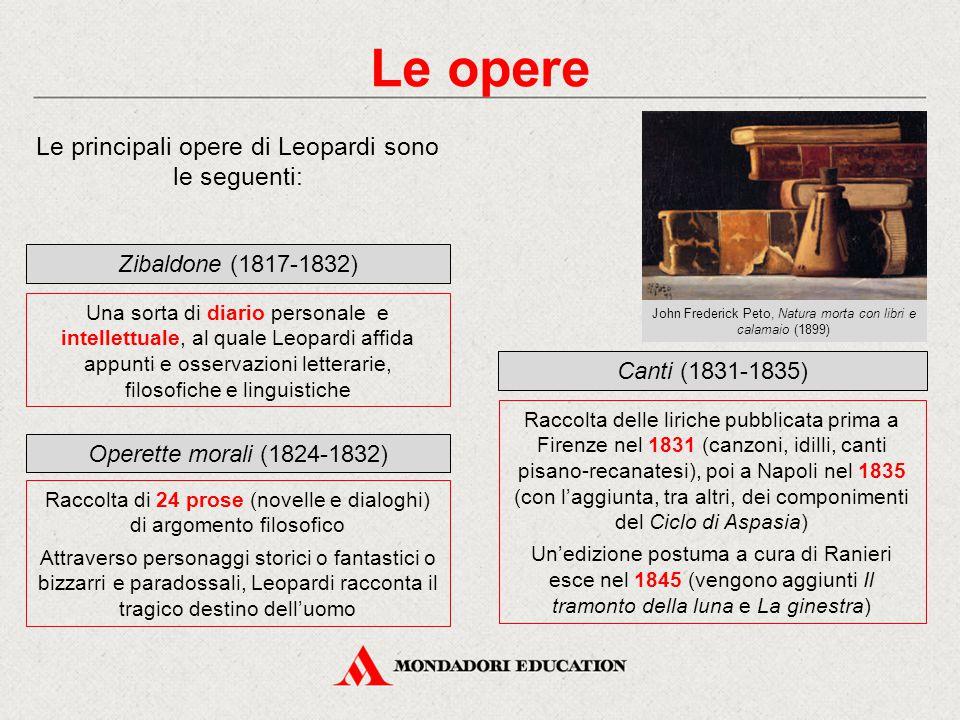 Le opere Le principali opere di Leopardi sono le seguenti: Zibaldone (1817-1832) Una sorta di diario personale e intellettuale, al quale Leopardi affi