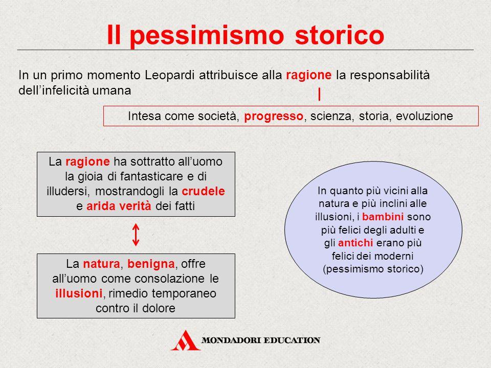 Il pessimismo storico In un primo momento Leopardi attribuisce alla ragione la responsabilità dell'infelicità umana Intesa come società, progresso, sc