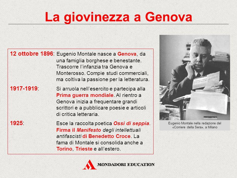 La giovinezza a Genova 12 ottobre 1896: Eugenio Montale nasce a Genova, da una famiglia borghese e benestante. Trascorre l'infanzia tra Genova e Monte
