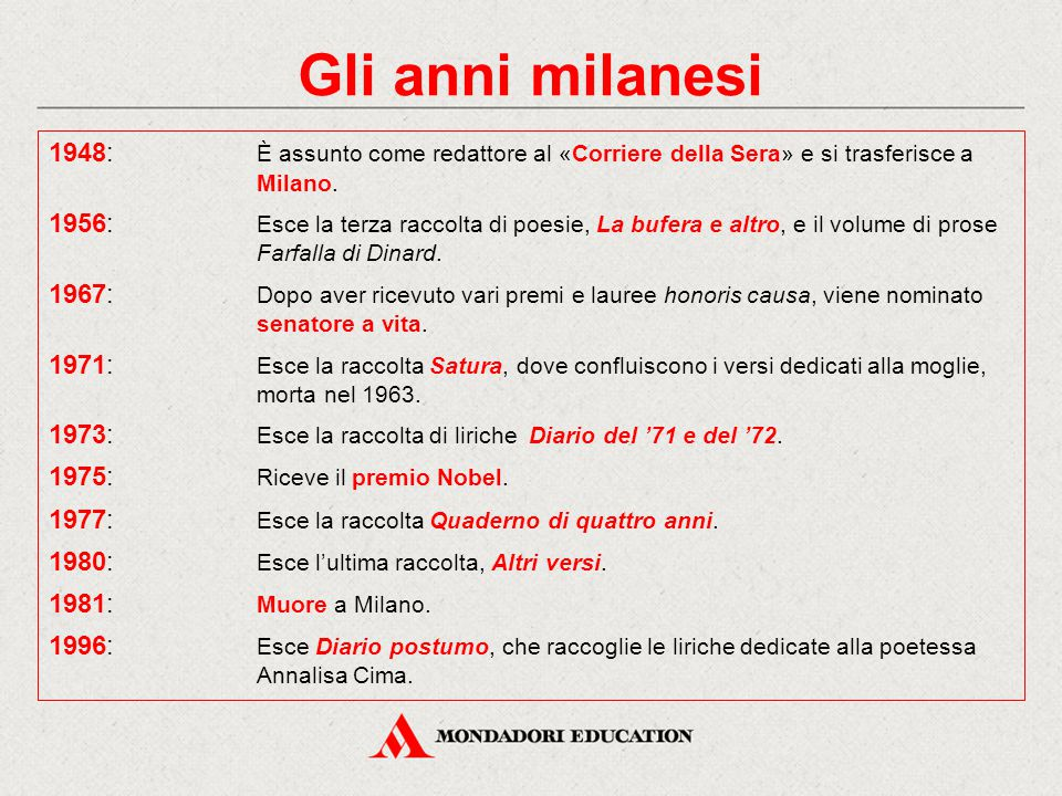 Gli anni milanesi 1948: È assunto come redattore al «Corriere della Sera» e si trasferisce a Milano. 1956: Esce la terza raccolta di poesie, La bufera