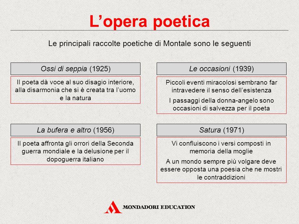 L'opera poetica Le principali raccolte poetiche di Montale sono le seguenti Ossi di seppia (1925) Il poeta dà voce al suo disagio interiore, alla disa