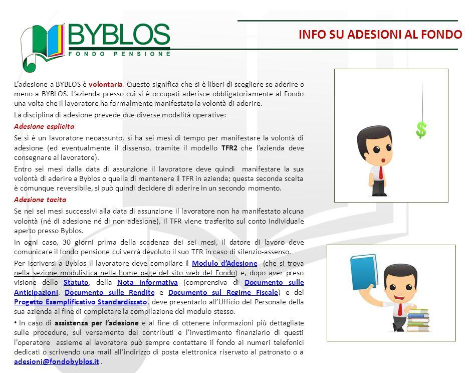 INFO SU ADESIONI AL FONDO L'adesione a BYBLOS è volontaria. Questo significa che si è liberi di scegliere se aderire o meno a BYBLOS. L'azienda presso