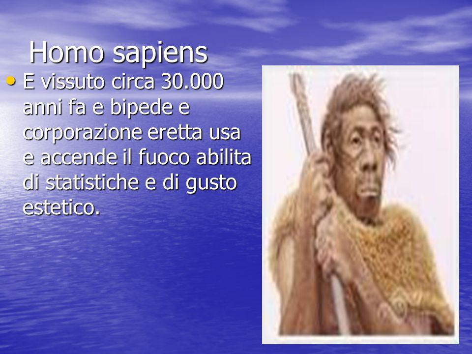 Homo sapiens E vissuto circa 30.000 anni fa e bipede e corporazione eretta usa e accende il fuoco abilita di statistiche e di gusto estetico. E vissut