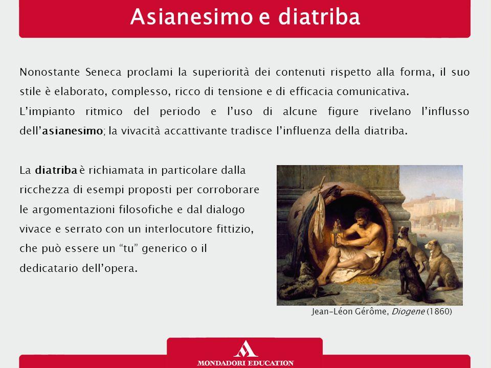 Asianesimo e diatriba Nonostante Seneca proclami la superiorità dei contenuti rispetto alla forma, il suo stile è elaborato, complesso, ricco di tensione e di efficacia comunicativa.