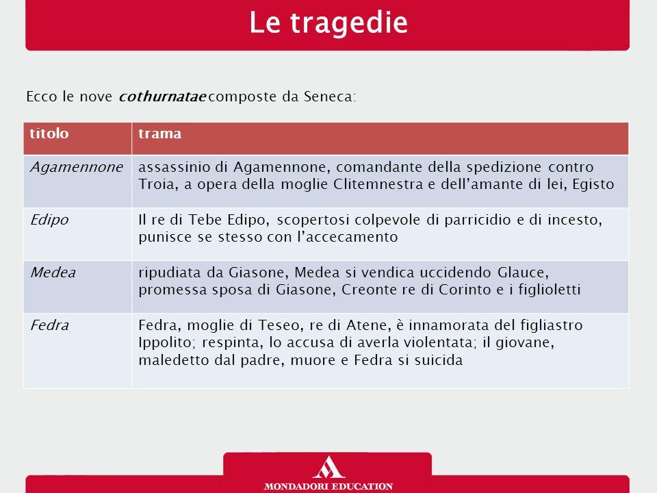 Le tragedie Ecco le nove cothurnatae composte da Seneca: titolotrama Agamennoneassassinio di Agamennone, comandante della spedizione contro Troia, a o