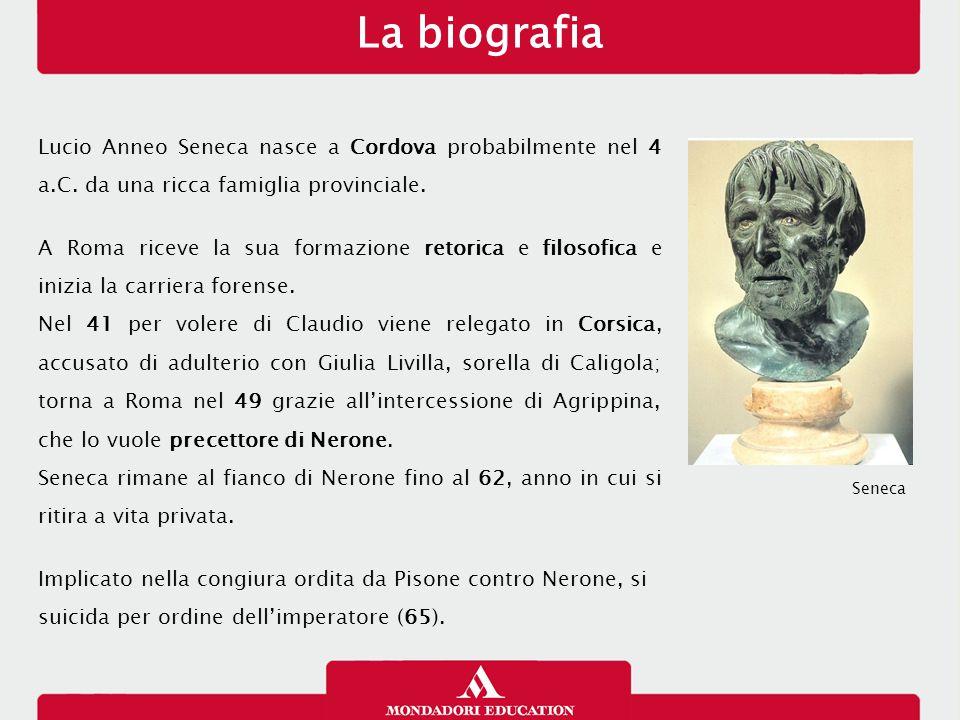 Lucio Anneo Seneca nasce a Cordova probabilmente nel 4 a.C. da una ricca famiglia provinciale. A Roma riceve la sua formazione retorica e filosofica e