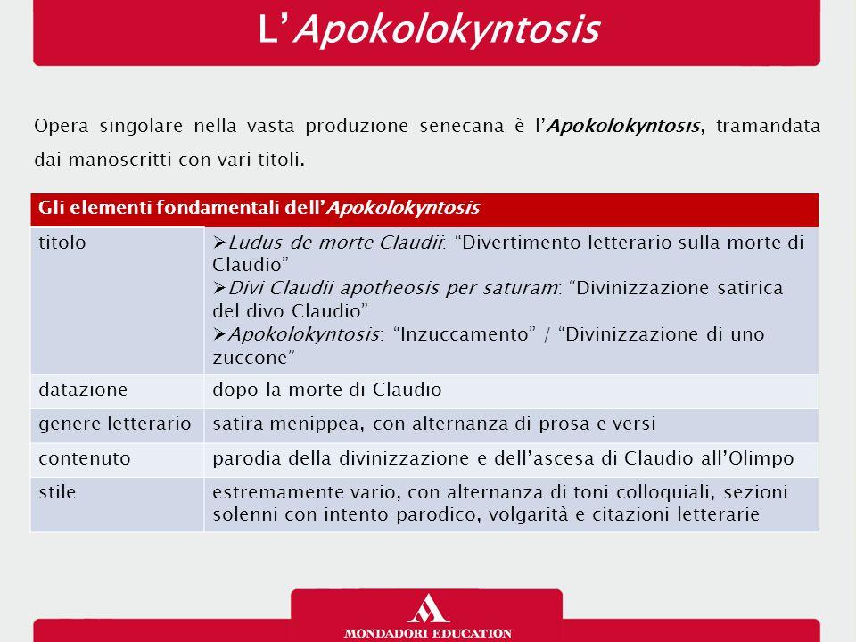L'Apokolokyntosis Opera singolare nella vasta produzione senecana è l'Apokolokyntosis, tramandata dai manoscritti con vari titoli. Gli elementi fondam