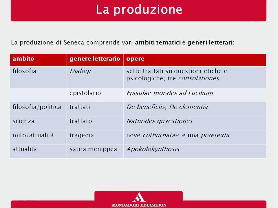 La produzione La produzione di Seneca comprende vari ambiti tematici e generi letterari: ambitogenere letterarioopere filosofiaDialogisette trattati s