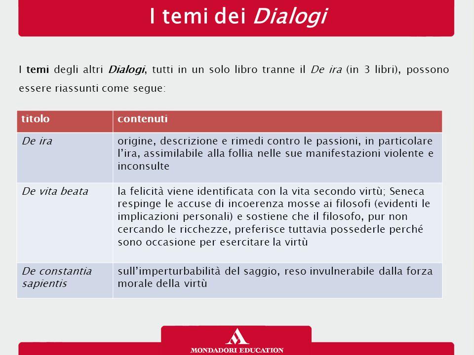 I temi dei Dialogi I temi degli altri Dialogi, tutti in un solo libro tranne il De ira (in 3 libri), possono essere riassunti come segue: titoloconten