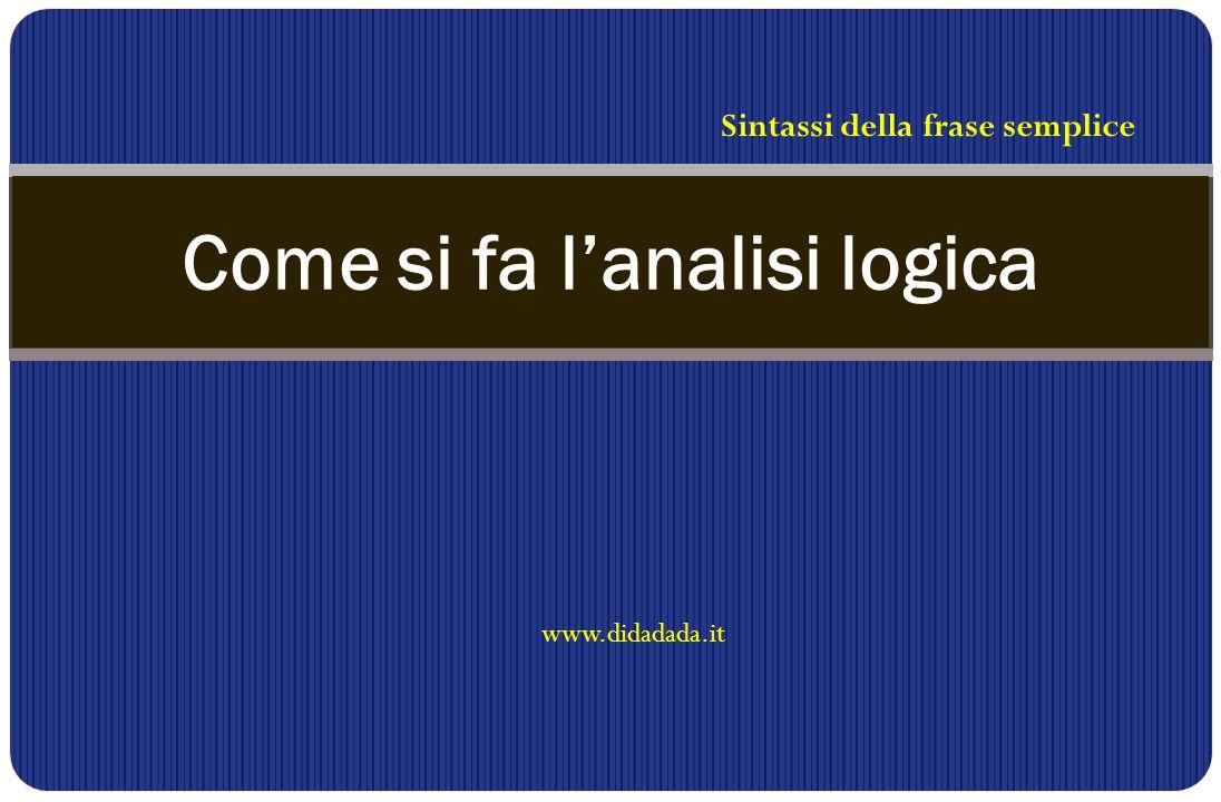 www.didadada.it Come si fa l'analisi logica Sintassi della frase semplice