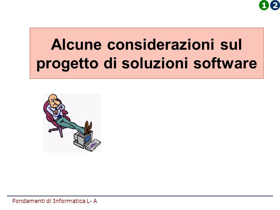 Fondamenti di Informatica L- A Alcune considerazioni sul progetto di soluzioni software 12