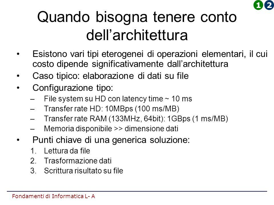 Fondamenti di Informatica L- A Quando bisogna tenere conto dell'architettura Esistono vari tipi eterogenei di operazioni elementari, il cui costo dipende significativamente dall'architettura Caso tipico: elaborazione di dati su file Configurazione tipo: –File system su HD con latency time ~ 10 ms –Transfer rate HD: 10MBps (100 ms/MB) –Transfer rate RAM (133MHz, 64bit): 1GBps (1 ms/MB) –Memoria disponibile >> dimensione dati Punti chiave di una generica soluzione: 1.Lettura da file 2.Trasformazione dati 3.Scrittura risultato su file 12