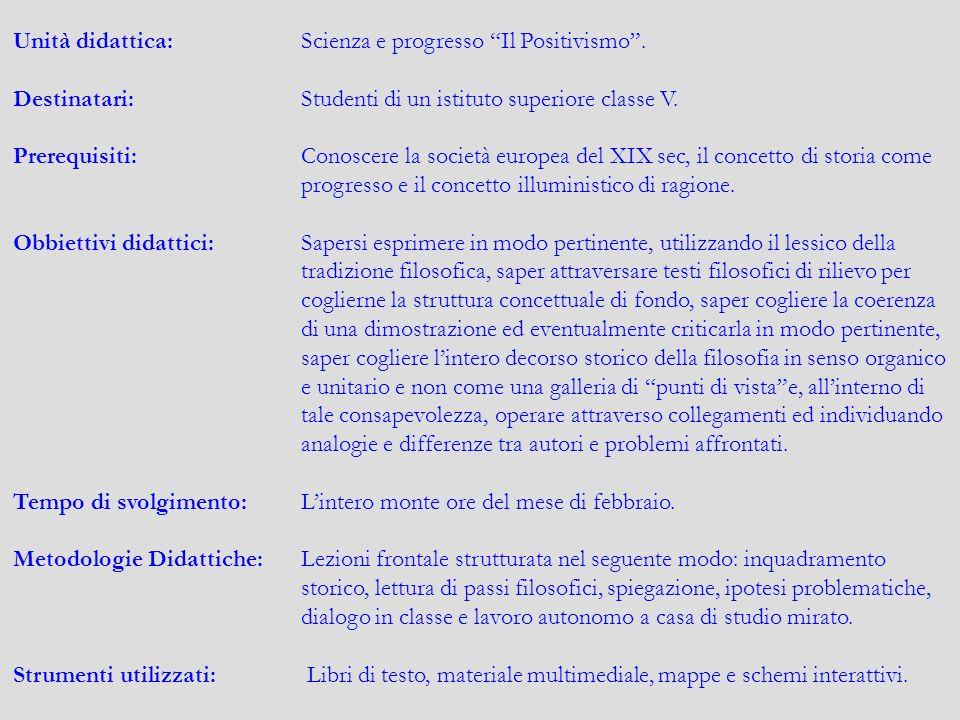 """Unità didattica:Scienza e progresso """"Il Positivismo"""". Destinatari:Studenti di un istituto superiore classe V. Prerequisiti:Conoscere la società europe"""