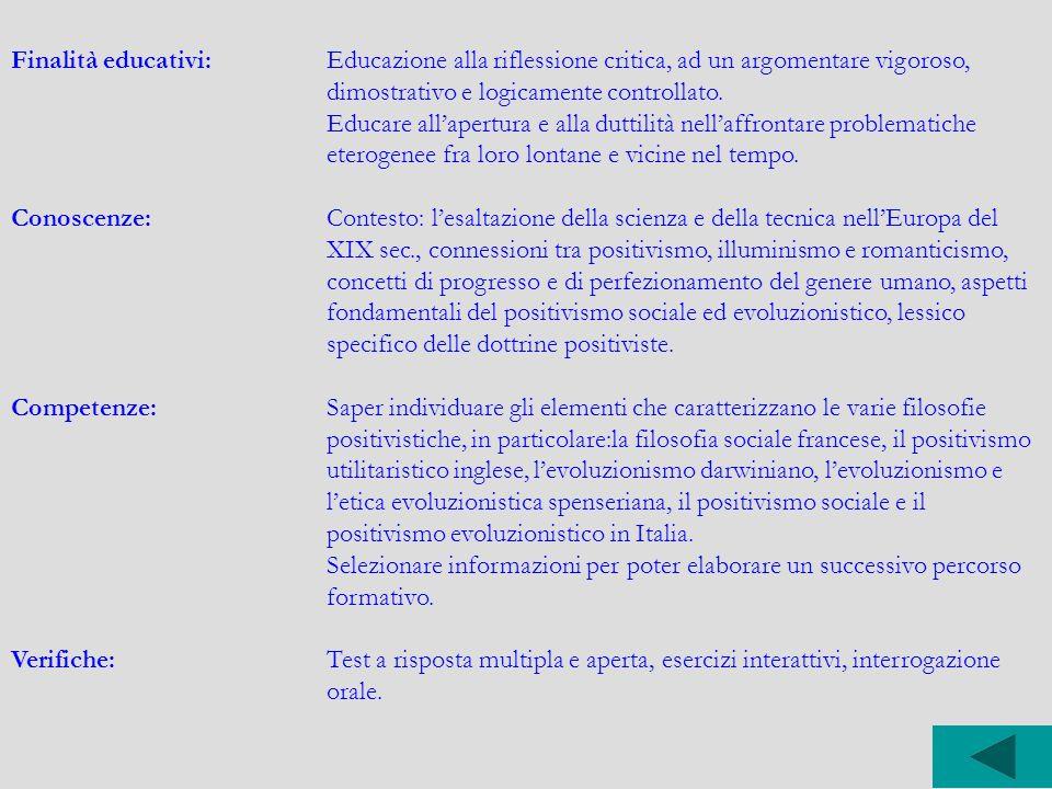 Finalità educativi:Educazione alla riflessione critica, ad un argomentare vigoroso, dimostrativo e logicamente controllato. Educare all'apertura e all