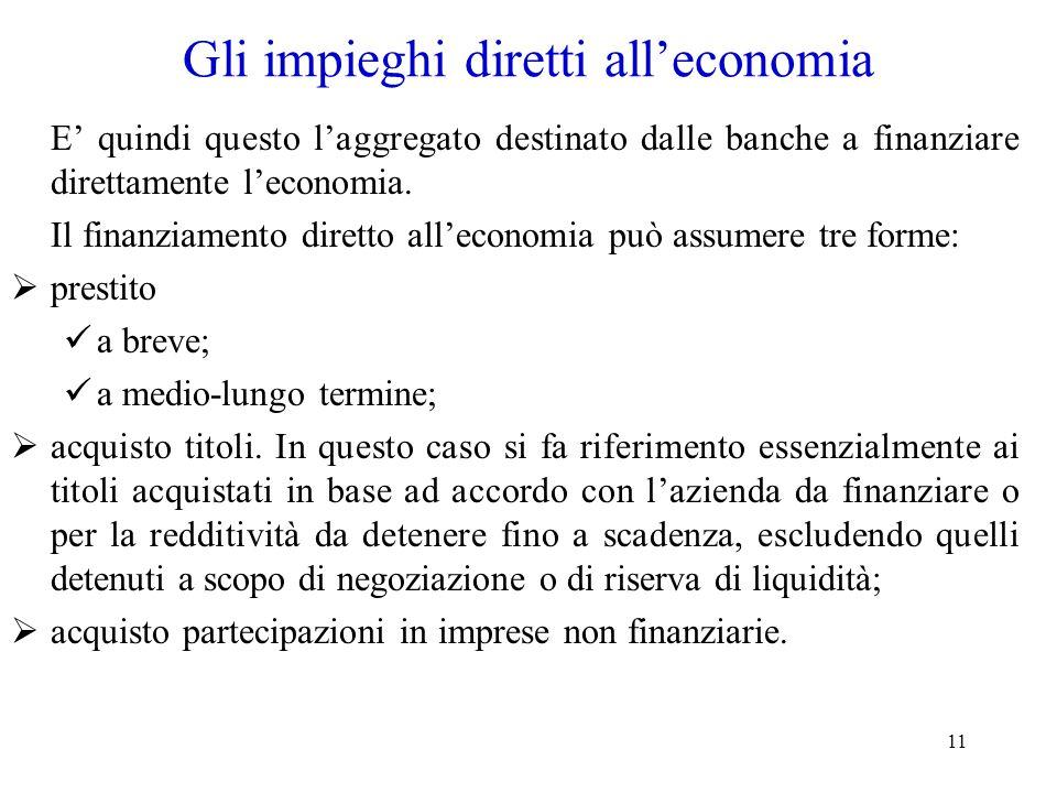 11 Gli impieghi diretti all'economia E' quindi questo l'aggregato destinato dalle banche a finanziare direttamente l'economia. Il finanziamento dirett