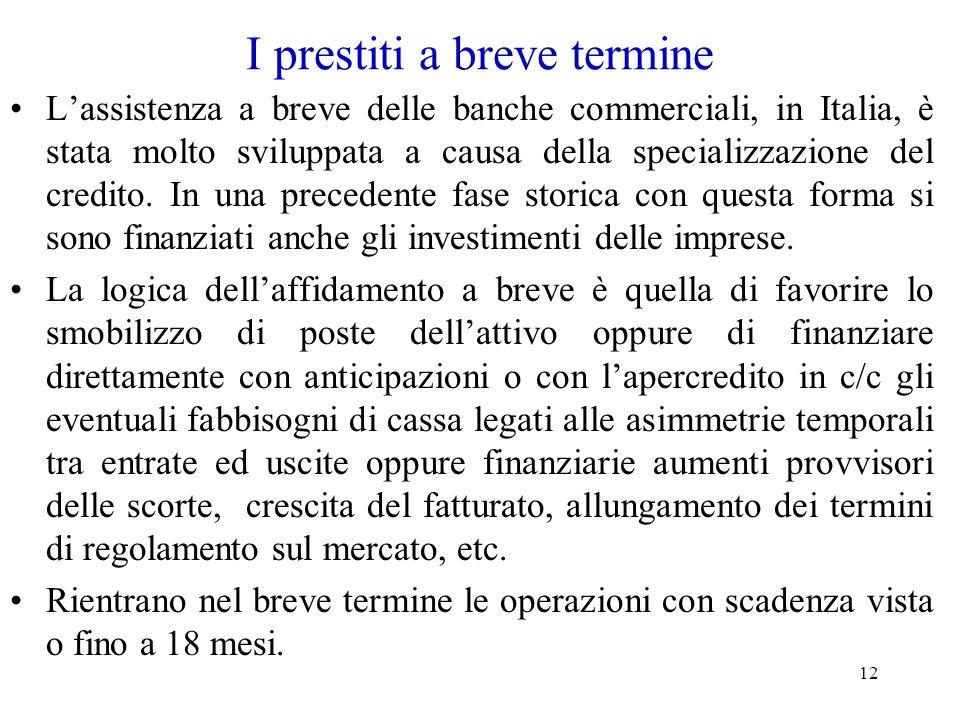 12 I prestiti a breve termine L'assistenza a breve delle banche commerciali, in Italia, è stata molto sviluppata a causa della specializzazione del cr