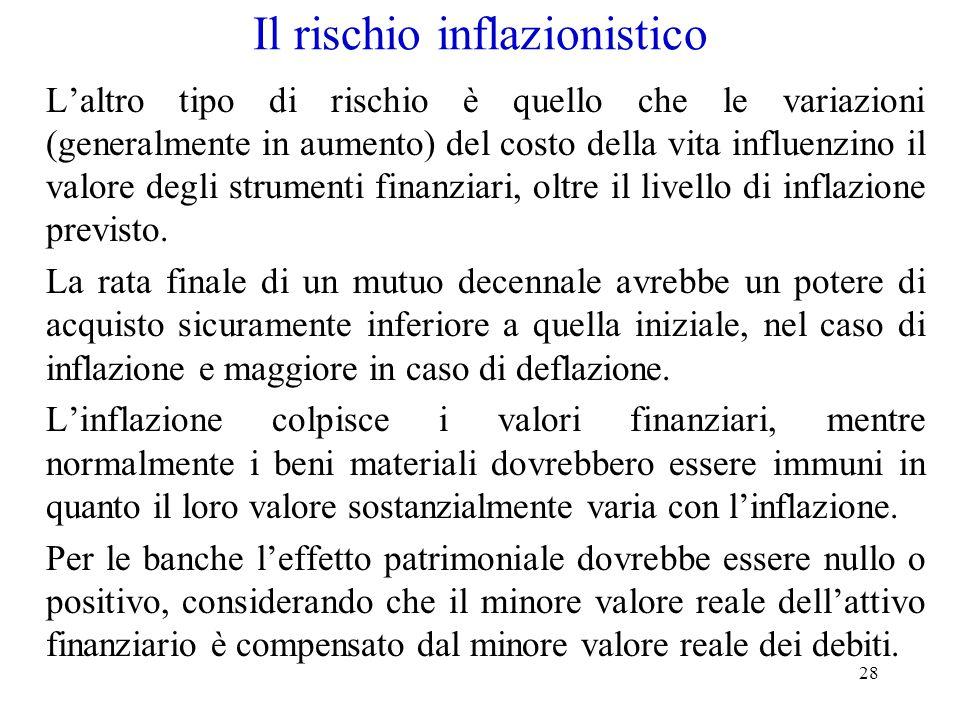 28 Il rischio inflazionistico L'altro tipo di rischio è quello che le variazioni (generalmente in aumento) del costo della vita influenzino il valore