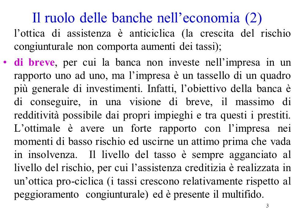 3 Il ruolo delle banche nell'economia (2) l'ottica di assistenza è anticiclica (la crescita del rischio congiunturale non comporta aumenti dei tassi);