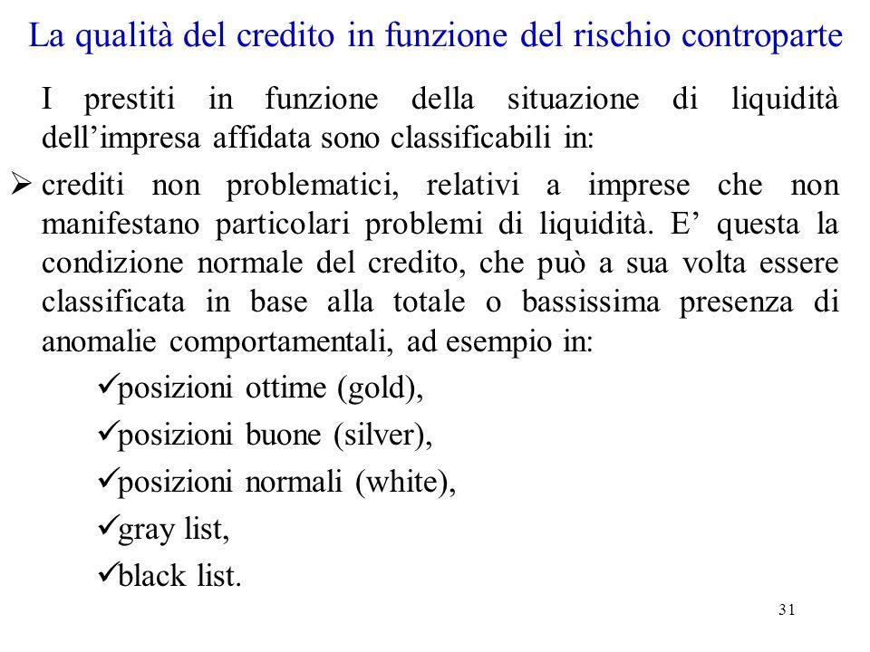 31 La qualità del credito in funzione del rischio controparte I prestiti in funzione della situazione di liquidità dell'impresa affidata sono classifi