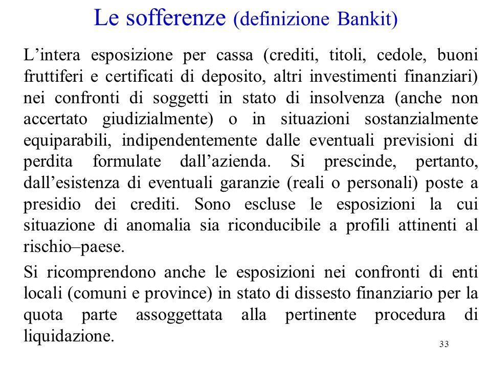 33 Le sofferenze (definizione Bankit) L'intera esposizione per cassa (crediti, titoli, cedole, buoni fruttiferi e certificati di deposito, altri inves