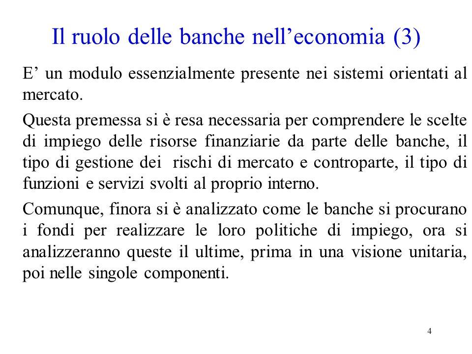 4 Il ruolo delle banche nell'economia (3) E' un modulo essenzialmente presente nei sistemi orientati al mercato. Questa premessa si è resa necessaria