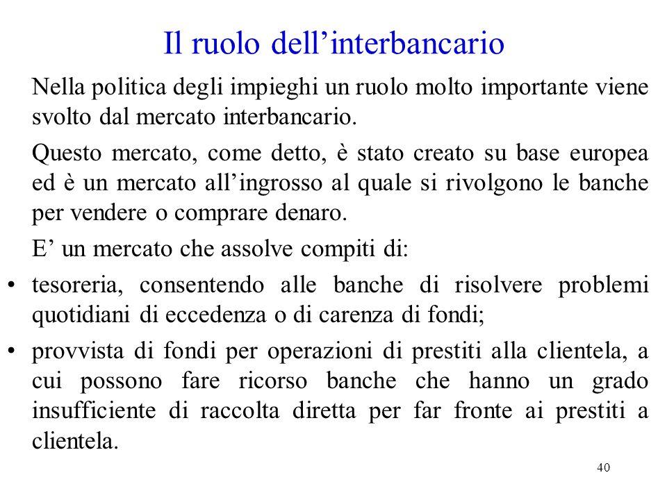 40 Il ruolo dell'interbancario Nella politica degli impieghi un ruolo molto importante viene svolto dal mercato interbancario. Questo mercato, come de