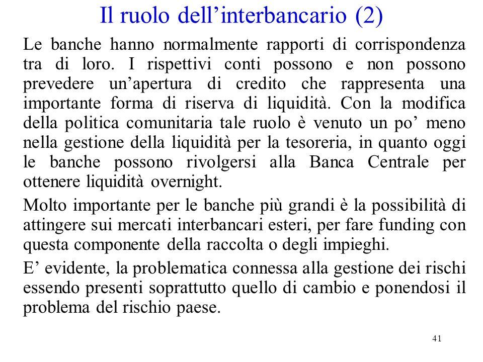 41 Il ruolo dell'interbancario (2) Le banche hanno normalmente rapporti di corrispondenza tra di loro. I rispettivi conti possono e non possono preved