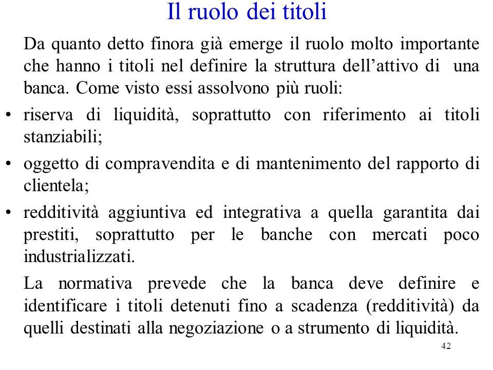 42 Il ruolo dei titoli Da quanto detto finora già emerge il ruolo molto importante che hanno i titoli nel definire la struttura dell'attivo di una ban
